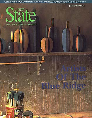 ":  County, Cover of the magazine, ""Our State"" (Jan 1997), featuring cover photo of a potter's studio by Jim Hargan [Ask for #990.012.]"