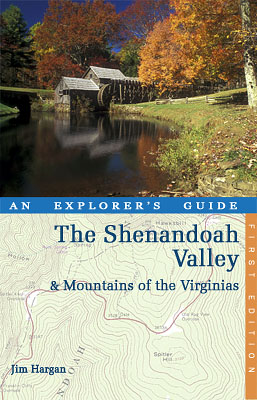 "VA: Southern Mountains Region, Floyd County, The Blue Ridge Parkway, Meadows of Dan Area, Mabry Mill, MP 176, ""The Shenandoah Valley and the Mountains of the Virginias: An Explorer's Guide"", cover by Jim Hargan; Mabry Mill, on the Blue Ridge Parkway [Ask for #990.023.]"