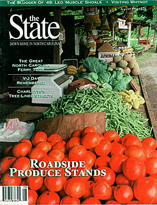 North Carolina: The Great Smoky Mtns Region, Swain County, Tuckaseegee Valley, Bryson City, Our State cover for August 1995; vegetable stand outside Bryson City [Ask for #990.136.]