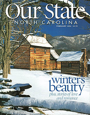 North Carolina: Central Mountains Region, Buncombe County, The Great Craggy Mountains, Weaverville, Zebulon Vance Birthplace, Our State cover for Feb 2006; Vance Birthplace in snow. [Ask for #990.138.]
